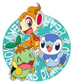 <3 Pokémon Chimchar Piplup and Turtwig Sinnoh Starters <3