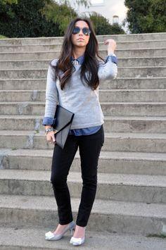 Grey sweater + chambray shirt
