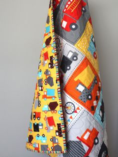 Modern Baby Boy Quilt-Truck Bedding-Toddler Quilt  This adorable quilt is completed and ready to ship to you. This modern boy quilt is fully