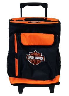 Black and Orange Harley Davidson Rolling Travel Cooler Ice Chest http://bikeraa.com/black-and-orange-harley-davidson-rolling-travel-cooler-ice-chest/