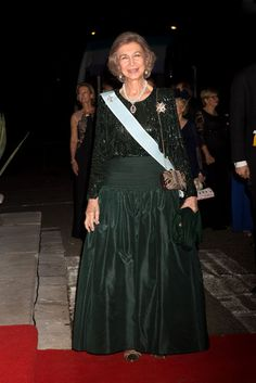 Queen Sophie arrives for the gala dinner at the Royal Palace after the wedding of Crown Prince Leka II Albania and Crown Princess Elia in Tirana, Albania on October 8, 2016