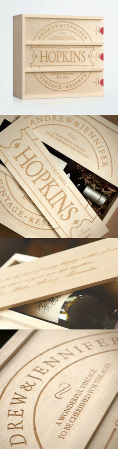 Perfect Wedding, Anniversary, or Engagement gift — a personalized wine box wedding gift for the couple! Toast them on their 1st, 3rd and 5th anniversaries with a personal message from you. Personalize their names, established date and location. | Artificer Wood Works #anniversarywinebox