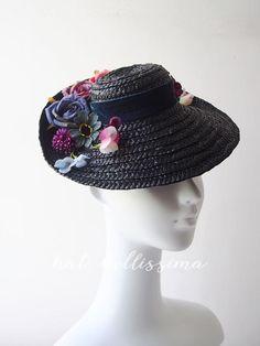 b1b271833de black 1940 s Vintage Style straw hat Tilt Hat Summer hat Derby Hat formal  hats hatbellissima ladies  and misses  hats millinery