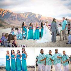 (Ryan Cason Photography)    I love the BM blue ombre dresses!