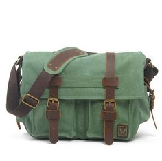 Coral Green Canvas Leather Camera Bag Leisure Shoulder Bag Messenger Bag DSLR Camera Bag 2138DL