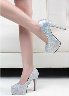 11 14CM prom heels wedding shoes women high heels crystal high heel shoes  woman platforms silver rhinestone platform pumps ca390152a9c2