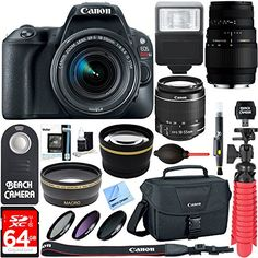 Canon EOS Rebel SL2 DSLR Camera + EF-S 18-55mm IS STM & Sigma 70-300mm Macro Telephoto Zoom Lens Kit + Accessory Bundle 64GB SDXC Memory + Bag + Wide Angle Lens + 2x Telephoto Lens+Flash+Tripod  CANON AUTHORIZED DEALER - Includes Full CANON USA WARRANTYCanon EOS Rebel SL2 DSLR Camera with EF-S 18-55mm IS STM & 70-300mm Macro Telephoto Zoom Lens KitKit Includes: 64GB Class 10 UHS-1 SDXC Memory Card…  Read More  http://techgifts.mobi/shop/canon-eos-rebel-sl2-dslr-camera-ef-s-18-55m..
