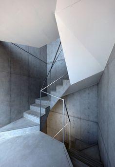 "dromik: "" Hikone Apartment Stair Case by Alphaville "" Modern Stair Railing, Stair Handrail, Modern Stairs, Staircase Design, Railings, Stair Design, Concrete Architecture, Stairs Architecture, Architecture Details"