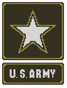 US Army Star Cross Stitch Printed Pattern by jpcrossstitch on Etsy, $5.95