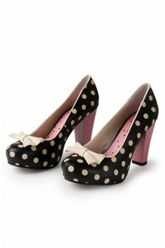 Lola Ramona - 50s Angie Bow Polka Dot Pink plateau pumps.  I fear I might not survive without these!