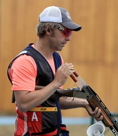 #RIO2016 Frank Thompson of the United States shoots in a skeet training session prior to the start of the Rio 2016 Olympic Games at the Olympic Shooting...