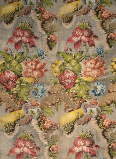 Fabric with a Bouquet of Flowers Motif | France; Lyon | 1735-40 | silk, silver thread, gold & silver twist | The Hermitage | Inventory #: Т-1531