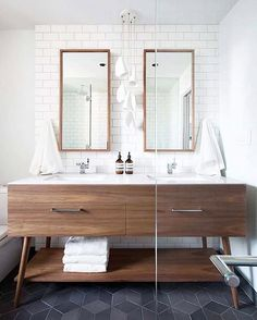 Good morning!! Today on he blog we are talking about one way to upgrade your bathroom - yank out those standard wall to wall cabinets or pedestal sink + replace it with something unique. It doesn't have to break the bank. We have our tips for doing this and some current favorite ready-to-go vanities on the blog (link in bio). Photo by @falkenreynolds