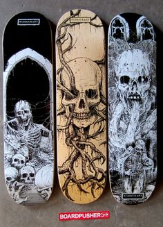 We have a few more Featured Deck from death metal artist Mark Riddick today. You can pick these, and some of his other gruesome graphics, up at www.BoardPusher.com/shop/riddickart.