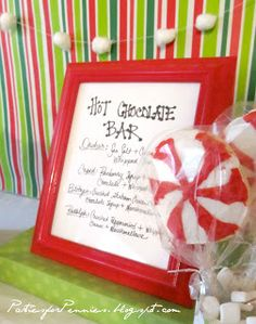 post a menu with recipe ideas or let people create their own #partycrafters #winter