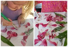 Nature Collages for Kids! Simple flower process art preschoolers and toddlers can do!