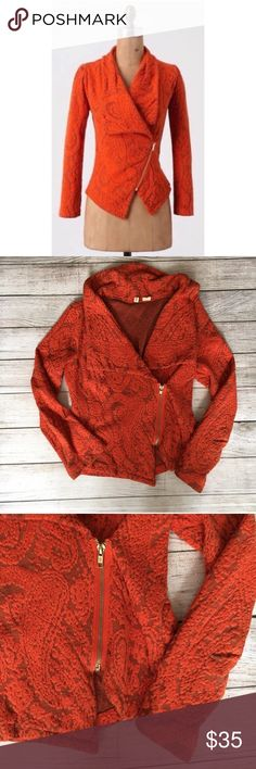 Anthropologie Moth Paisley Gust Sweater Jacket Wide fold over color. Gold zipper closure. Paisley design throughout. Excellent condition 🚫NO TRADES/NO MODELING🚫✅BUNDLE TO SAVE✅ Anthropologie Jackets & Coats Blazers