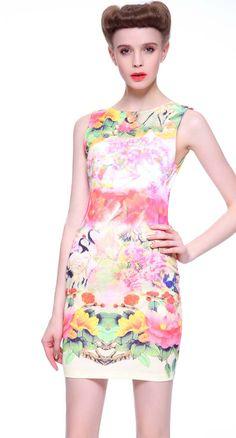 Pink Sleeveless Floral Crane Print Bodycon Dress