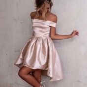 A-Line High Low Off-the-Shoulder Light Champagne Satin Prom Homecoming Dress