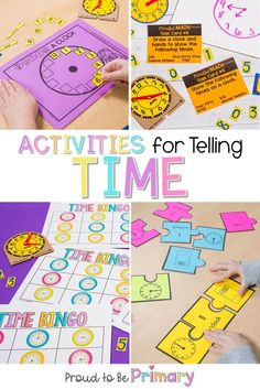 These telling time activities will help kids learn to say what time it is within seconds with just a glance at the clock! Try them in your classroom. Telling Time Games, Telling Time Activities, First Grade Activities, Teaching Time, First Grade Math, Kindergarten Activities, Second Grade, Activities For Kids, Teaching First Grade