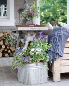 I have found that using unexpected or unusual containers for my potted plant arrangements, often results in a more beautiful look, especially when arranged in a vignette. Some of my favorite containers are galvanized buckets that I find at HomeGoods or online. They are usually inexpensive and the contrast of the soft gray color with bright colored plants or greenery is always a great look. Container Plants, Container Gardening, Gardening Tips, Plant Containers, Fresco, Patio Makeover, Office Makeover, Unique Gardens, Beautiful Gardens