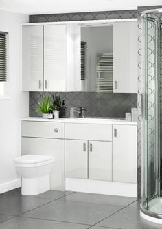 Cool Grey is a stylish and unique choice of finish. Unlike standard gloss doors Cool Grey features a mirror gloss which gives it a glass like effect and the stylish silver edge profile of the doors deepens the look. Bathroom Plans, Bathroom Layout, Bathroom Designs, Bathroom Ideas, Fitted Bathroom Furniture, Small Bathroom Interior, Bathroom Inspiration, Home Decor Inspiration, British Bathroom
