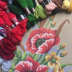 Fabulous vintage Gobelin canvas with tapestry wool available at KindredClassics on Etsy Needlepoint Kits, Needlepoint Canvases, Large Pillows, Winter Landscape, Red Poppies, Beautiful Hands, Canvas Size, Hand Stitching, Tapestry