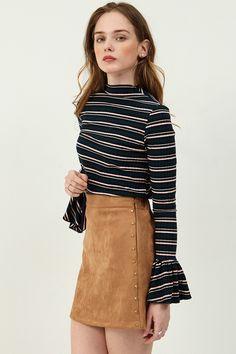 Dona Stud mini skirt  >>Discover the latest fashion trends online at storets.com #miniskirt #studskirt #studminiskirt