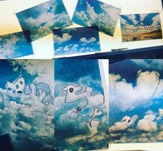 Transparency images of clouds on the light table, find shapes with sharpies