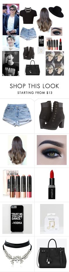 """""""Day out with Namjoon (Rap Monster of BTS)"""" by mimiisabooknerd ❤ liked on Polyvore featuring Levi's, Getting Back To Square One, Timberland, Too Faced Cosmetics, Smashbox, Happy Plugs, WithChic, Yves Saint Laurent and Siggi"""