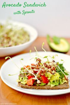 Avocado Sandwich with Sprouts| WIN-WINFOOD.com  #Wholegrain slice of bread with a generous avocado layer, veggies and homemade bean sprouts. This hearty #avocado sandwich with sprouts is full of amazing flavors and unbelievably good for you! #vegan #clean. Use gf bread to make it #glutenfree