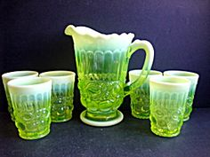7 pc. Vaseline Op. Pitcher Set