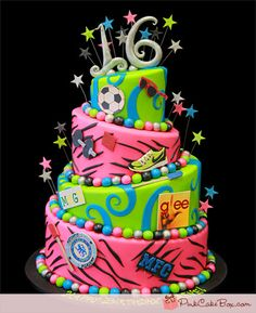 Maeve's Sweet 16 Topsy Turvy Cake by Pink Cake Box Crazy Cakes, Fancy Cakes, Cute Cakes, 16 Birthday Cake, Sweet 16 Birthday, 16th Birthday, Zebra Birthday, Happy Birthday, Sweet Sixteen Cakes