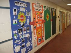 """Science Units Wall Display- large pieces of butcher paper gets fixed to the wall at the beginning of the year (with titles). As you cover the various units, glue """"big idea"""" visuals onto the butcher paper! The display grows throughout the school year!"""