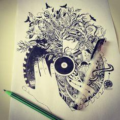 Dj music tattoo drawing