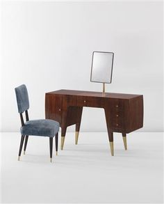 Gio Ponti, Dressing table and chair from Casa Ceccato, Milan, ca. 1950