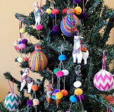 SET OF 6 christmas decorations llama tree ornament handmade christmas boho tree ornaments