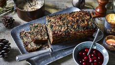 Nut roast with mushroom gravy and cranberry sauce