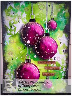 Guest Designer Tracy Scott shares with us how to make this Dyan styled Holiday Welcome sign using her favorite Dylusions products! Find Tracy's tutorial in our Projects Library: Holiday Welco… Christmas Mix, Christmas Journal, Christmas Projects, All Things Christmas, Kunstjournal Inspiration, Art Journal Inspiration, Mixed Media Collage, Mixed Media Canvas, Art Journal Pages