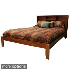 Scandinavia King-size Solid Wood Platform Bed With Headboard Bookcase