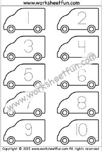 Number Tracing – Van – – One Worksheet / FREE Printable Worksheets – Worksheetfun Tracing Numbers 1 10, Numbers Preschool, Free Preschool, Printable Preschool Worksheets, Tracing Worksheets, Kindergarten Worksheets, Preschool Projects, Preschool Activities, Transportation For Kids