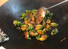 Tada, the yummiest wok charred brussels sprouts!