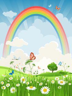 [フリーイラスト素材] イラスト, 風景, 自然, 虹, 草原, 花, ヒナギク / デイジー, 白色の花, 蝶 / チョウ, 雲, EPS ID:201402281100