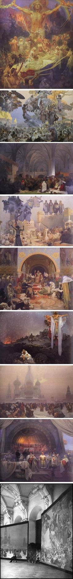 The Slav Epic, Alphonse Mucha (Alfons Mucha) I went and saw this. It is AMAZING! Art Nouveau, Figure Painting, Painting & Drawing, Alphonse Mucha Art, Statues, Classical Art, Beautiful Paintings, Painting Inspiration, Les Oeuvres