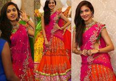 Ritu Varma in Mugdhas Half Saree Lehenga Designs, Lehenga Saree Design, Half Saree Lehenga, Half Saree Designs, Lehnga Dress, Blouse Designs, Lehenga Gown, Pink Lehenga, Dress Designs
