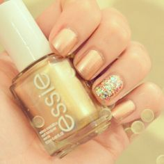 """Essie's """"Penny Talk"""" + Nicole by OPI """"Rainbow in the Skylie"""" for my holiday nails :)"""