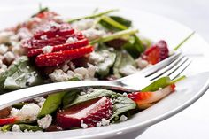 Spinach Salad with Strawberries and Feta Cheese