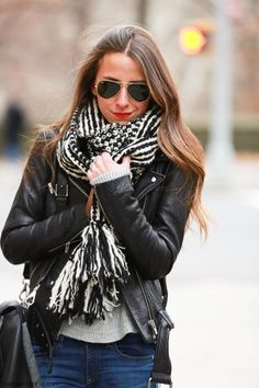 Leather jacket, stylish scarf and Ray-Ban sunglasses for fab street style. #rayban #scarf