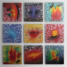Seriously?! $99?    Hand-painted Abstract Oil Painting with Stretched Frame - Set of 9 - USD $ 99.99