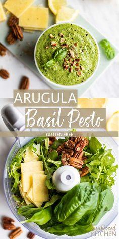 Pecan Arugula Basil Pesto / A spicy and bright pesto with toasty pecans. This is the perfect homemade pesto recipe for tons of dishes! Arugula Pesto Recipe, Basil Pesto Recipes, Arugula Recipes, Homemade Pesto Recipes, Recipes With Basil, Clean Eating Recipes, Healthy Eating, Cooking Recipes, Good Healthy Recipes
